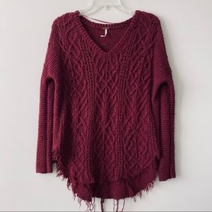 FREE PEOPLE | Red Raw Hem Cable Knit Sweater